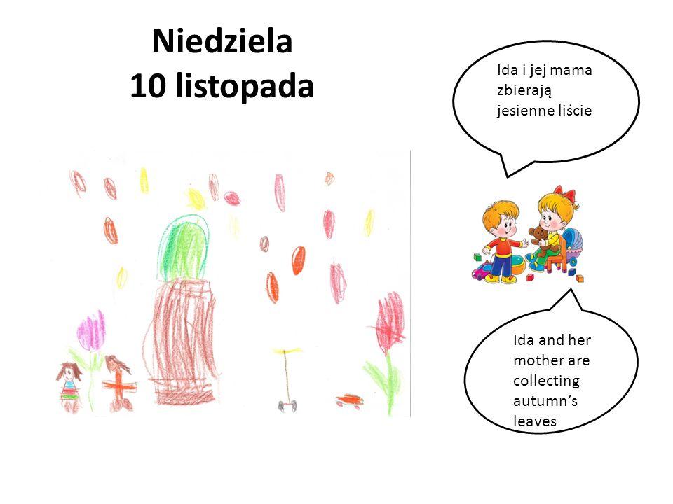 Niedziela 10 listopada Ida i jej mama zbierają jesienne liście