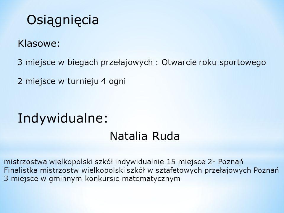 Osiągnięcia Indywidualne: Natalia Ruda Klasowe:
