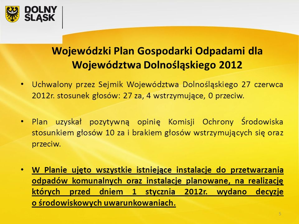 Wojewódzki Plan Gospodarki Odpadami dla Województwa Dolnośląskiego 2012