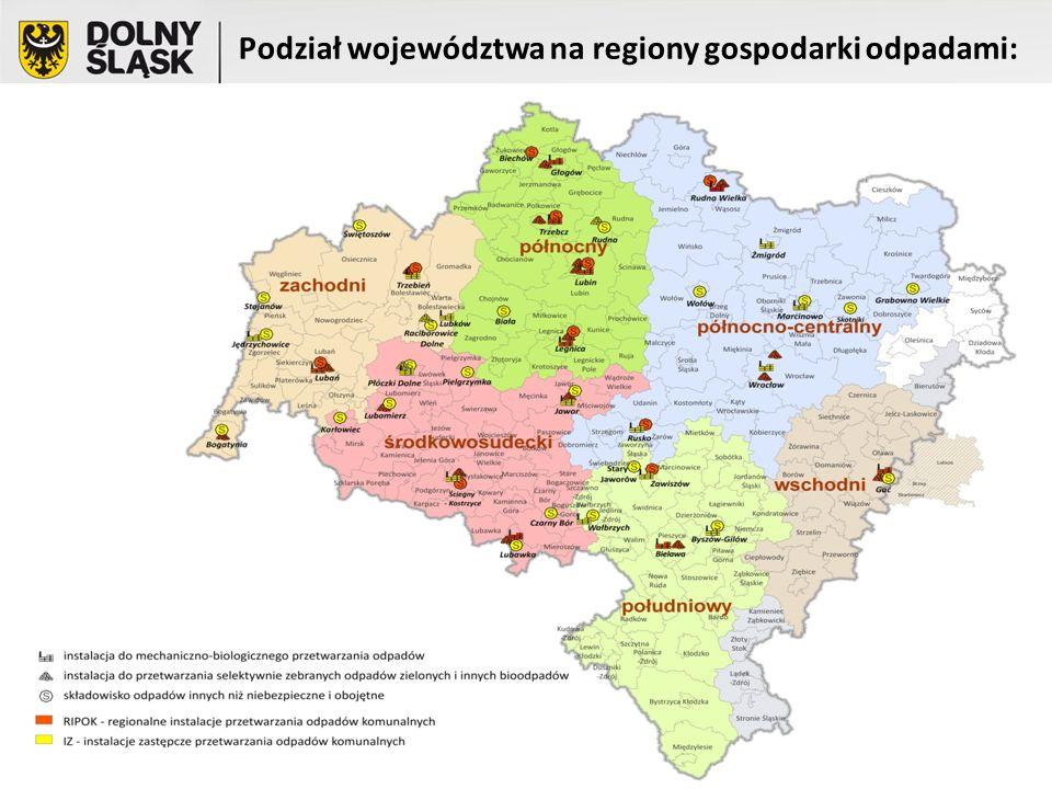 Podział województwa na regiony gospodarki odpadami: