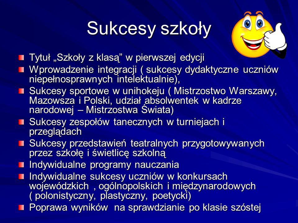 """Sukcesy szkoły Tytuł """"Szkoły z klasą w pierwszej edycji"""