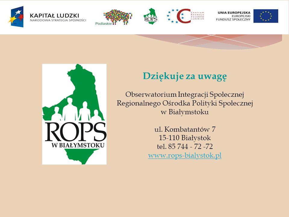 Dziękuje za uwagę Obserwatorium Integracji Społecznej Regionalnego Ośrodka Polityki Społecznej w Białymstoku.