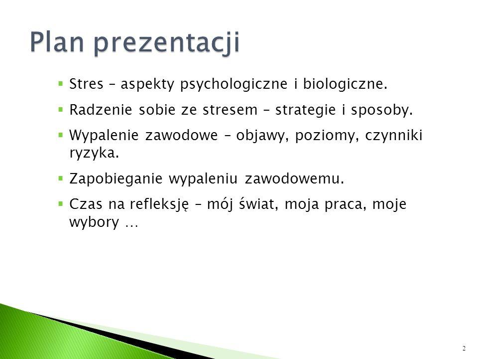 Plan prezentacji Stres – aspekty psychologiczne i biologiczne.