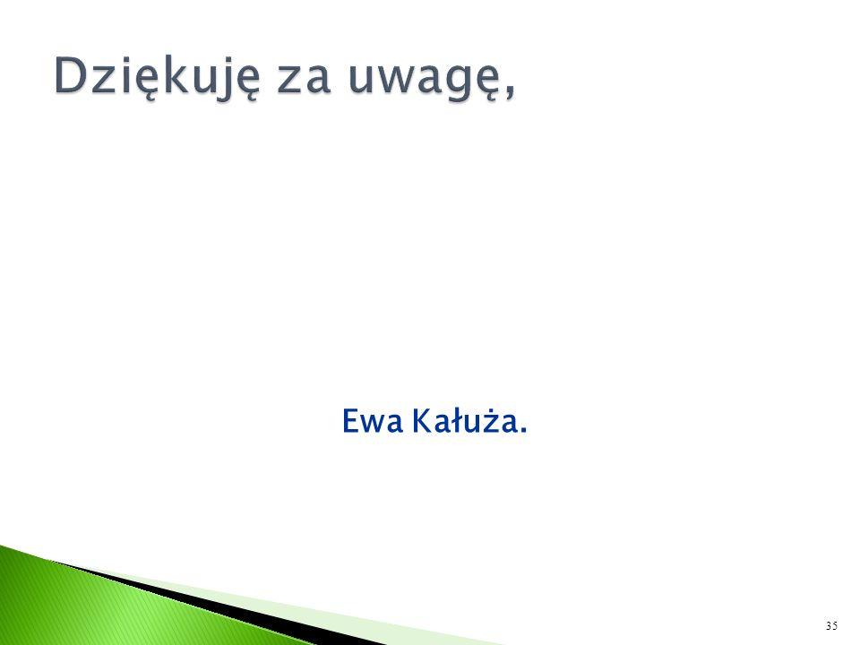 Dziękuję za uwagę, Ewa Kałuża.
