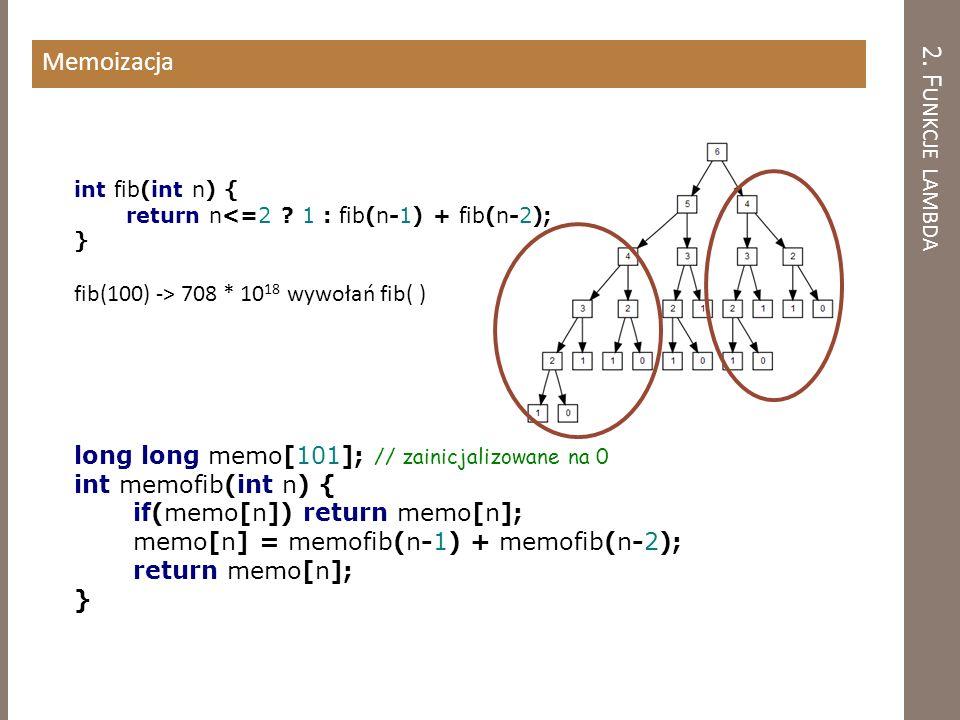 2. Funkcje lambda Memoizacja fib(100) -> 708 * 1018 wywołań fib( )