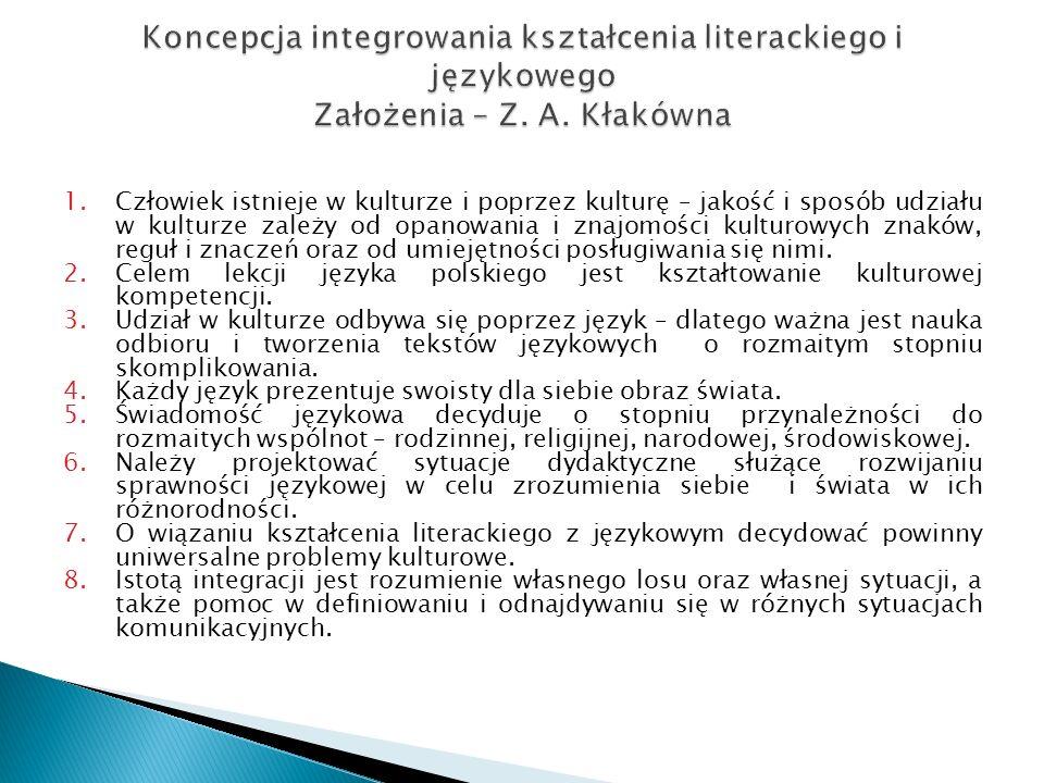 Koncepcja integrowania kształcenia literackiego i językowego Założenia – Z. A. Kłakówna