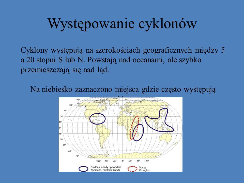 Występowanie cyklonów
