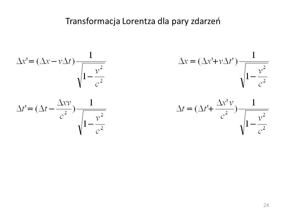 Transformacja Lorentza dla pary zdarzeń