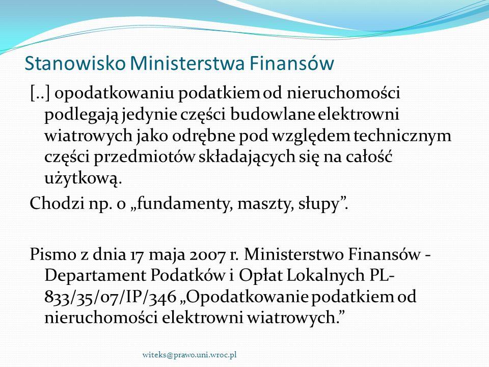 Stanowisko Ministerstwa Finansów