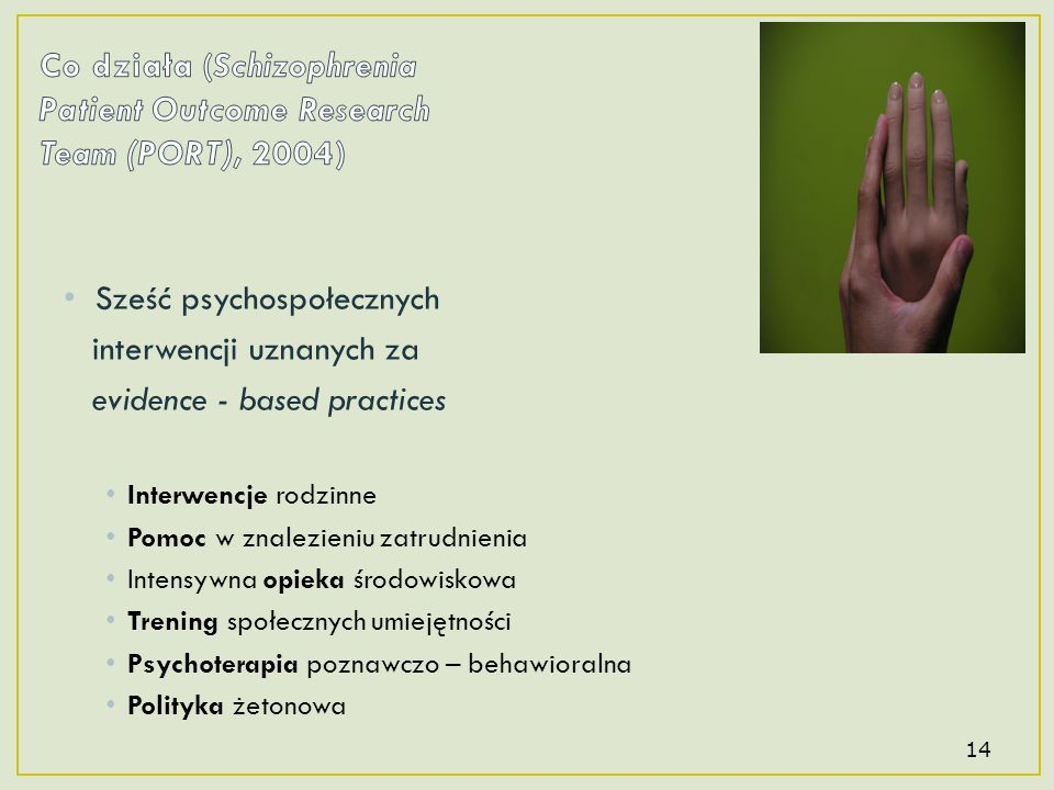 Co działa (Schizophrenia Patient Outcome Research Team (PORT), 2004)