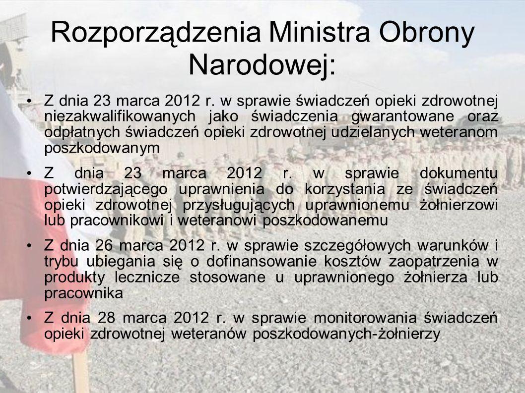 Rozporządzenia Ministra Obrony Narodowej: