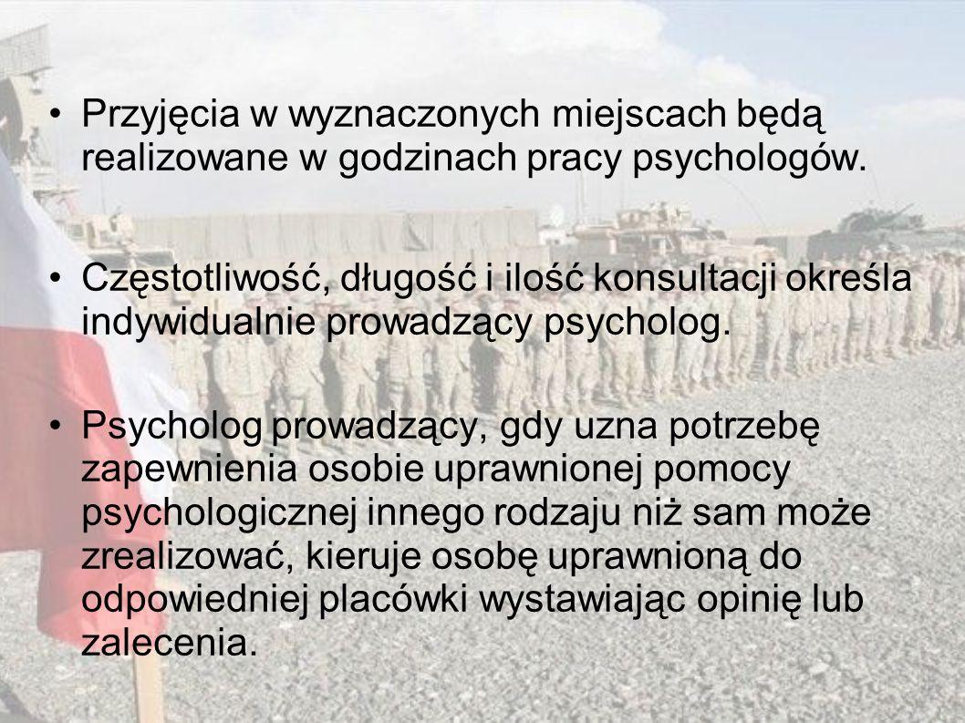 Przyjęcia w wyznaczonych miejscach będą realizowane w godzinach pracy psychologów.