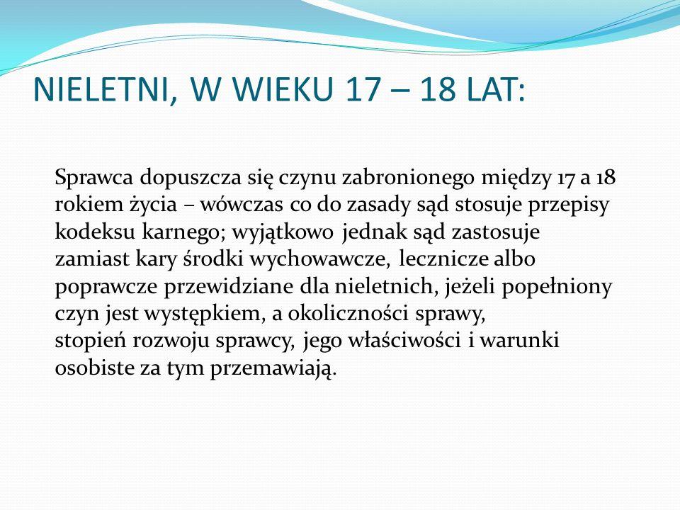 NIELETNI, W WIEKU 17 – 18 LAT: