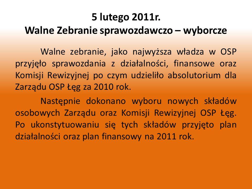 5 lutego 2011r. Walne Zebranie sprawozdawczo – wyborcze