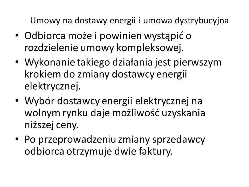 Umowy na dostawy energii i umowa dystrybucyjna