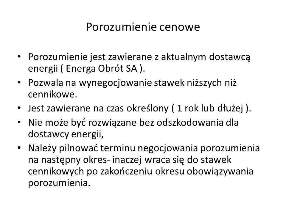 Porozumienie cenowePorozumienie jest zawierane z aktualnym dostawcą energii ( Energa Obrót SA ).