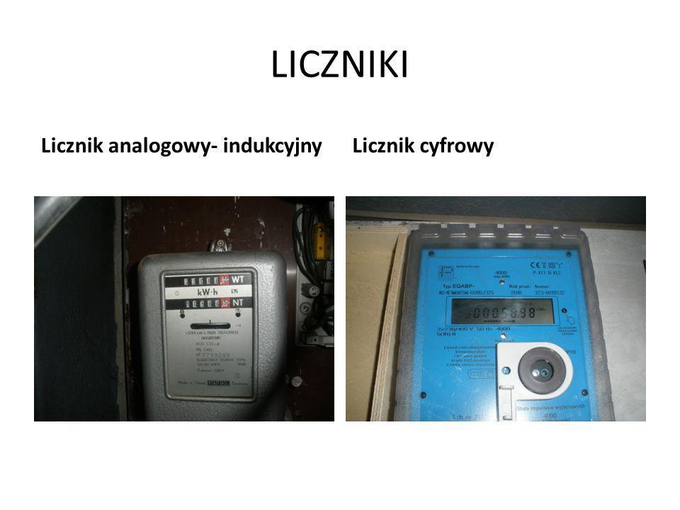 LICZNIKI Licznik analogowy- indukcyjny Licznik cyfrowy