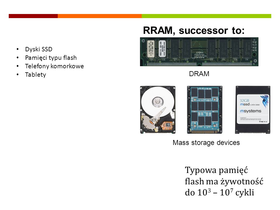 RRAM, successor to:Dyski SSD. Pamięci typu flash. Telefony komorkowe. Tablety. DRAM. Mass storage devices.