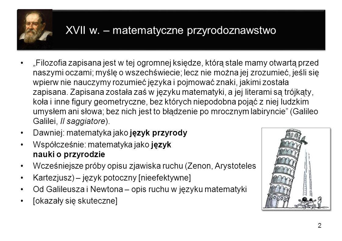 XVII w. – matematyczne przyrodoznawstwo