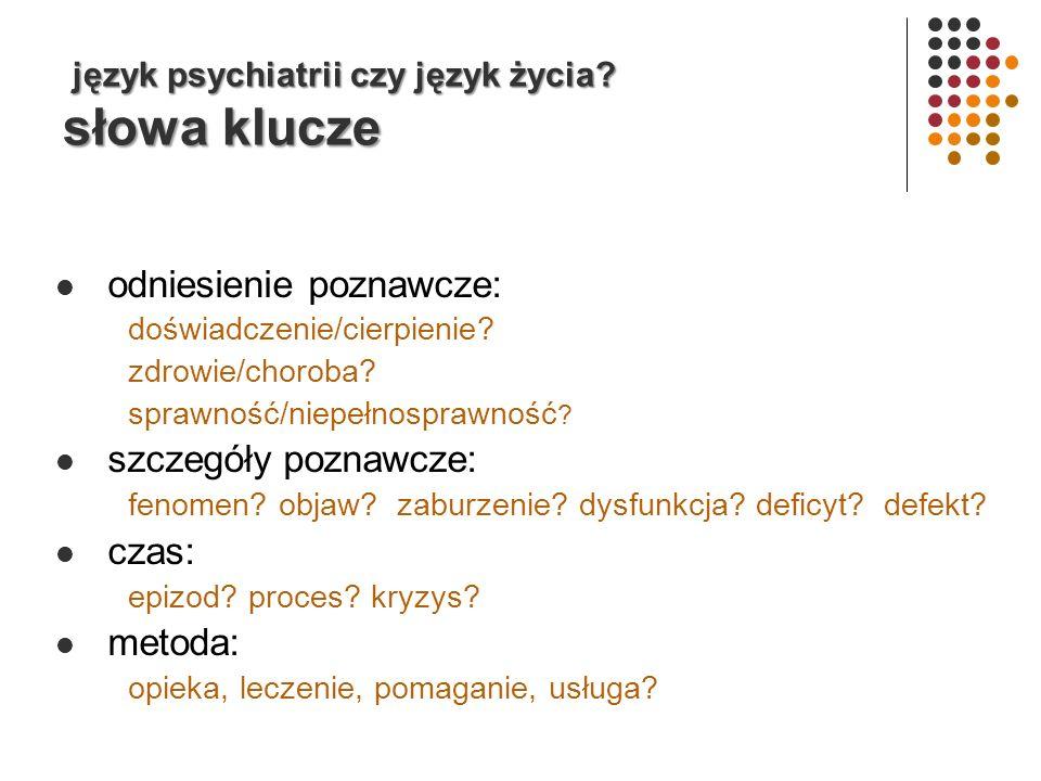 język psychiatrii czy język życia słowa klucze