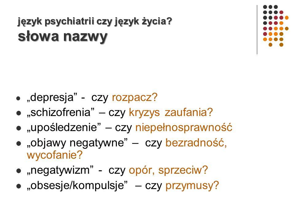 język psychiatrii czy język życia słowa nazwy