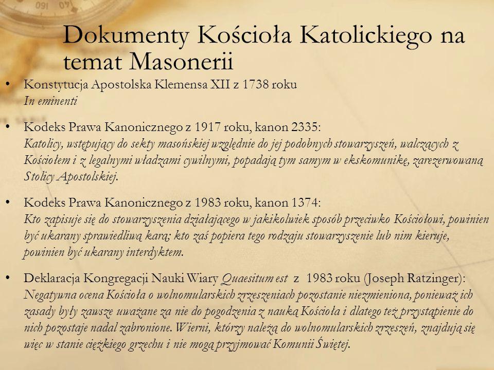 Dokumenty Kościoła Katolickiego na temat Masonerii