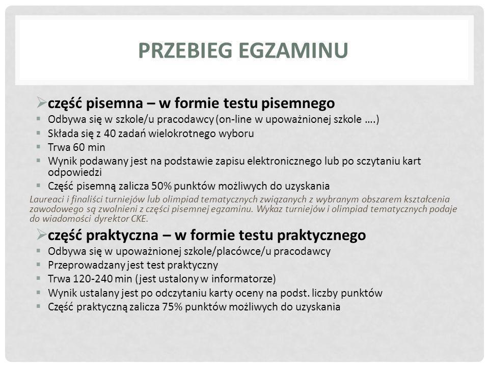 Przebieg egzaminu część pisemna – w formie testu pisemnego