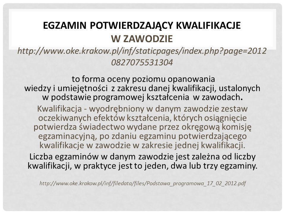 EGZAMIN POTWIERDZAJĄCY KWALIFIKACJE W ZAWODZIE http://www. oke. krakow