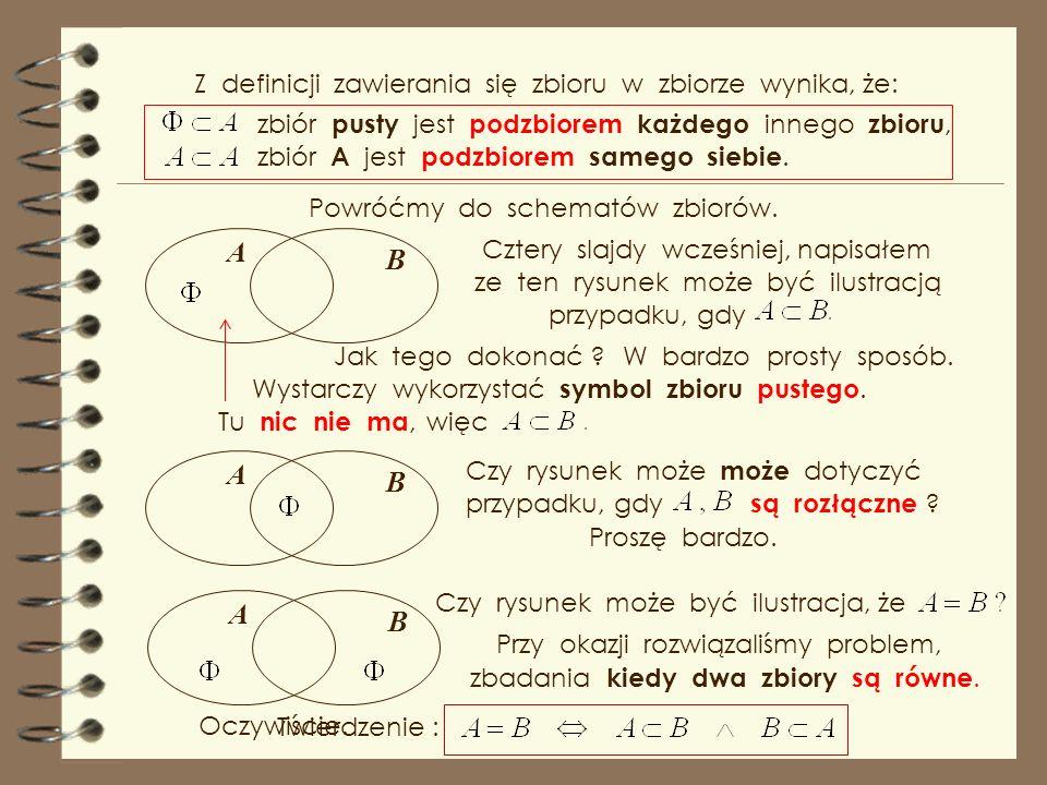 A B A B A B Z definicji zawierania się zbioru w zbiorze wynika, że: