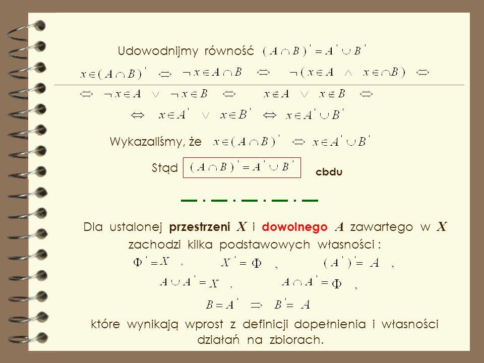 Dla ustalonej przestrzeni X i dowolnego A zawartego w X