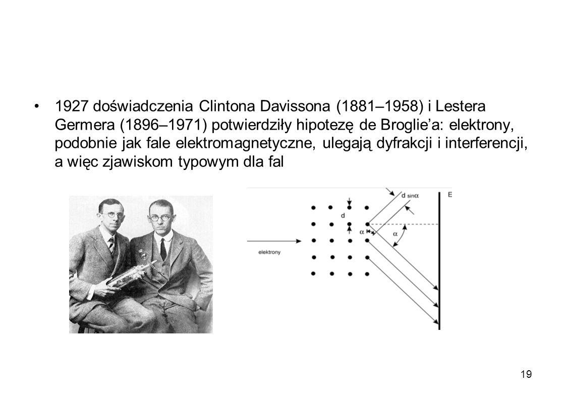 1927 doświadczenia Clintona Davissona (1881–1958) i Lestera Germera (1896–1971) potwierdziły hipotezę de Broglie'a: elektrony, podobnie jak fale elektromagnetyczne, ulegają dyfrakcji i interferencji, a więc zjawiskom typowym dla fal
