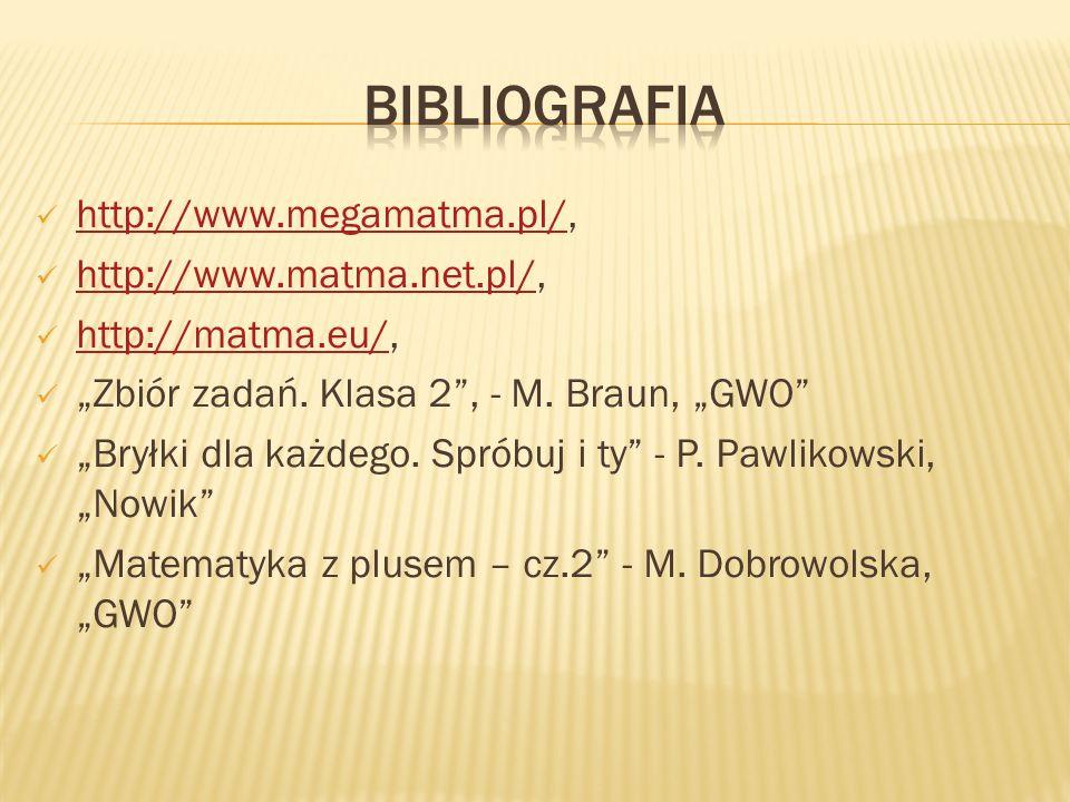 Bibliografia http://www.megamatma.pl/, http://www.matma.net.pl/,