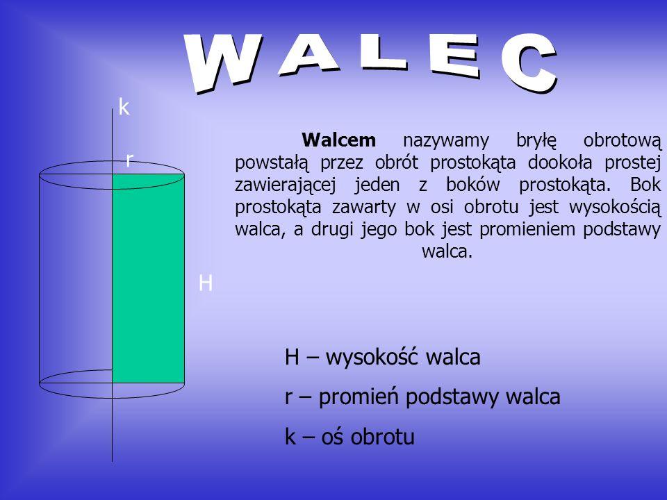 WALEC k r H H – wysokość walca r – promień podstawy walca
