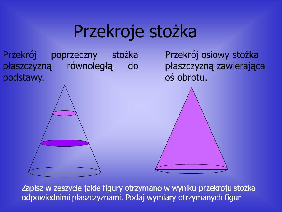 Przekroje stożka Przekrój poprzeczny stożka płaszczyzną równoległą do podstawy. Przekrój osiowy stożka płaszczyzną zawierająca oś obrotu.