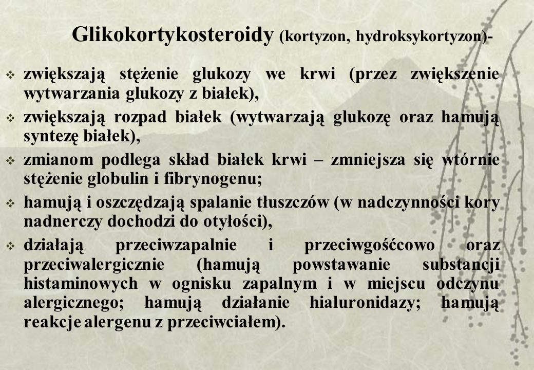 Glikokortykosteroidy (kortyzon, hydroksykortyzon)-
