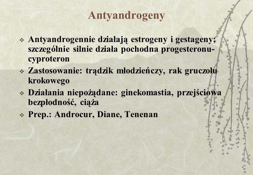 Antyandrogeny Antyandrogennie działają estrogeny i gestageny; szczególnie silnie działa pochodna progesteronu-cyproteron.