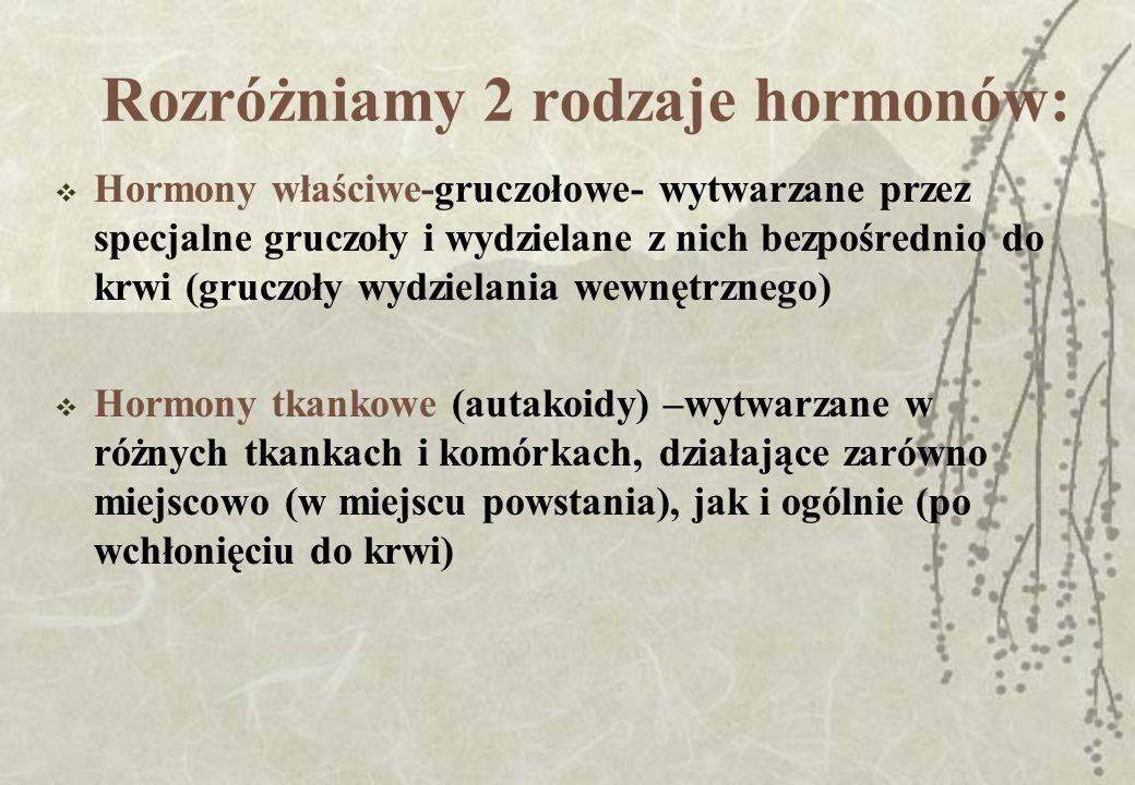Rozróżniamy 2 rodzaje hormonów: