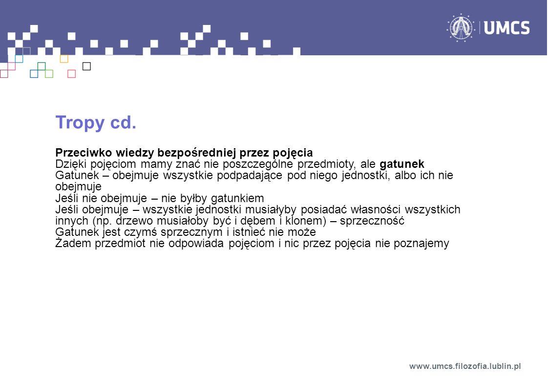 Tropy cd. Przeciwko wiedzy bezpośredniej przez pojęcia