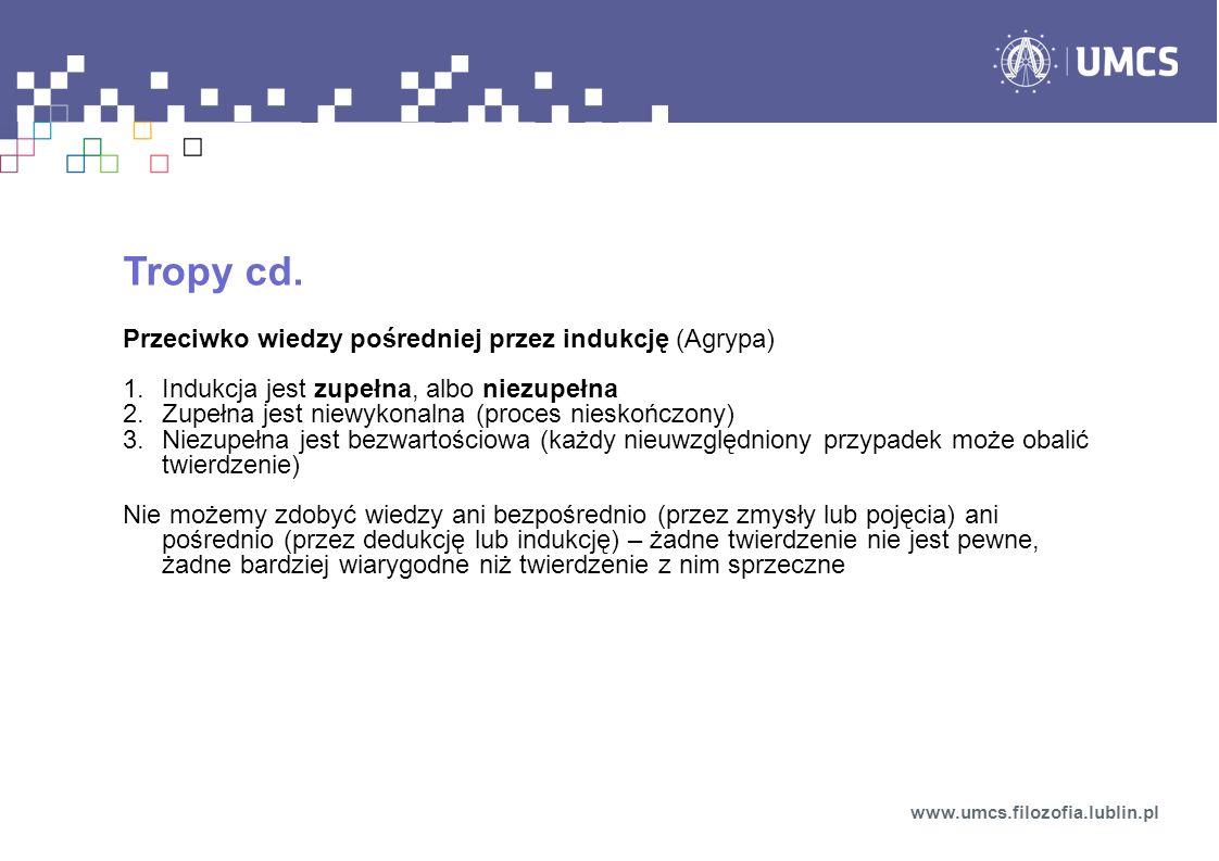 Tropy cd. Przeciwko wiedzy pośredniej przez indukcję (Agrypa)