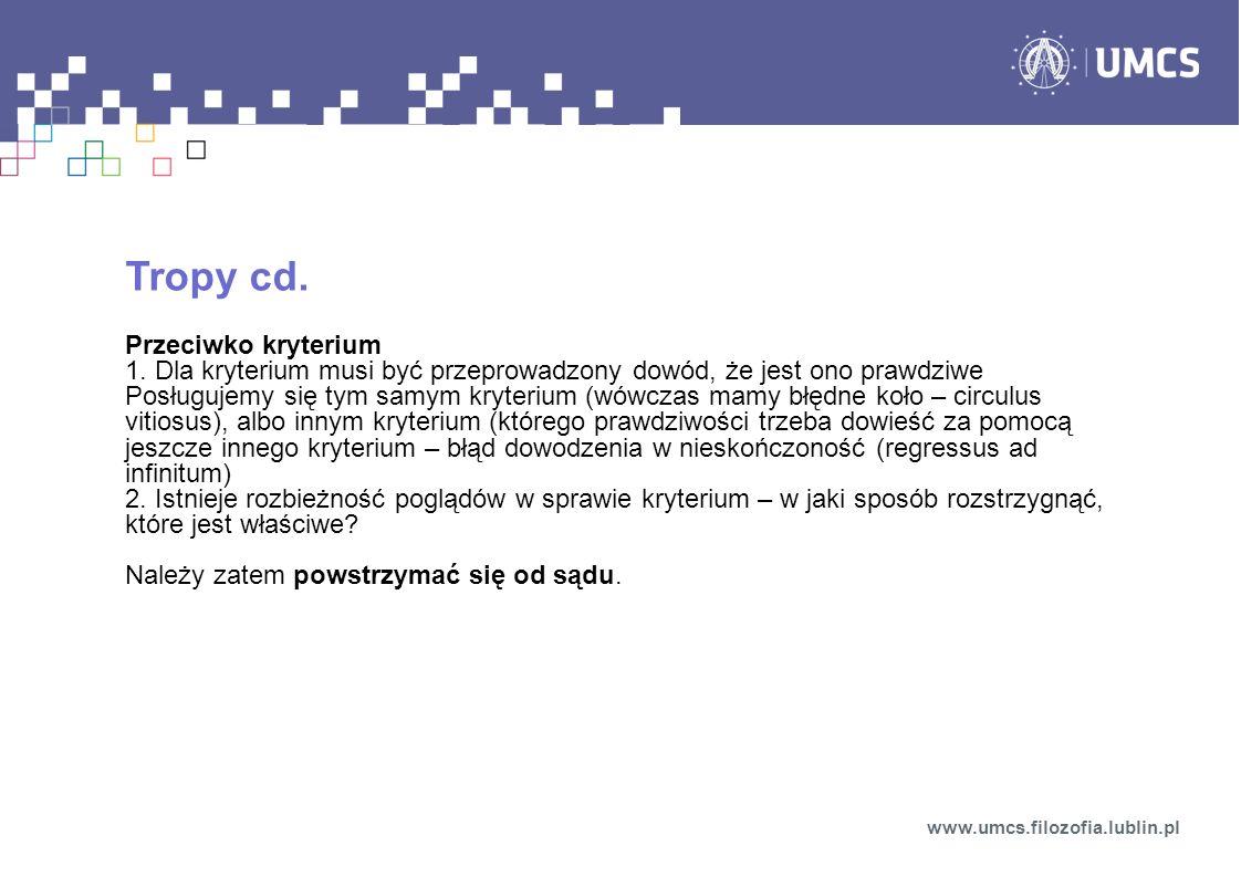 Tropy cd. Przeciwko kryterium