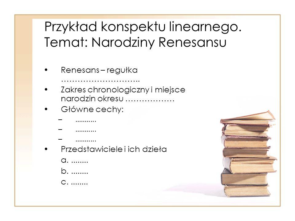 Przykład konspektu linearnego. Temat: Narodziny Renesansu
