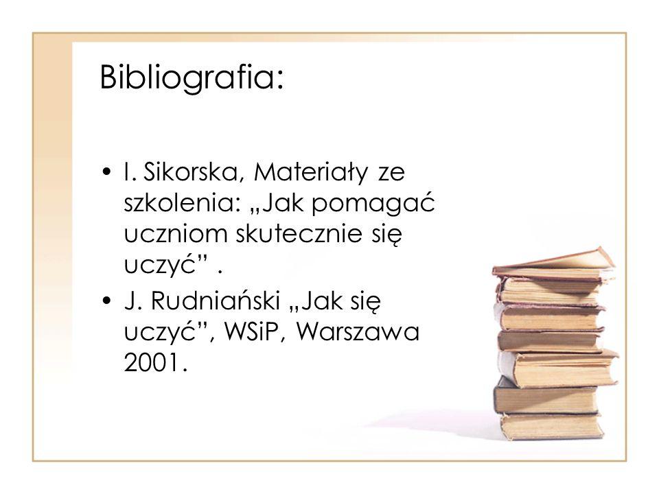 """Bibliografia: I. Sikorska, Materiały ze szkolenia: """"Jak pomagać uczniom skutecznie się uczyć ."""