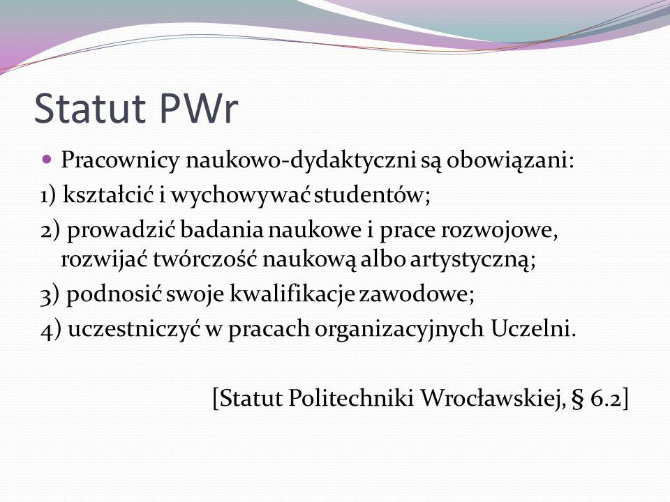 Statut PWr Pracownicy naukowo-dydaktyczni są obowiązani: