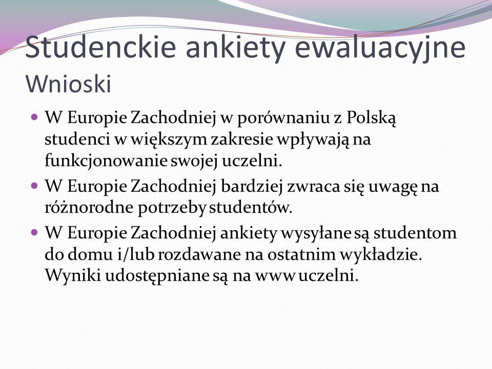 Studenckie ankiety ewaluacyjne Wnioski