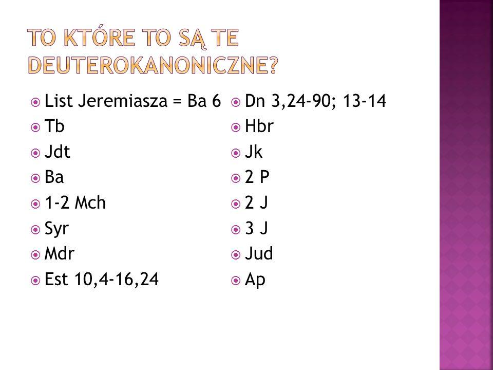 To które to są te deuterokanoniczne