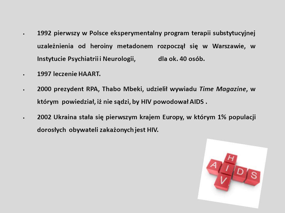 1992 pierwszy w Polsce eksperymentalny program terapii substytucyjnej uzależnienia od heroiny metadonem rozpoczął się w Warszawie, w Instytucie Psychiatrii i Neurologii, dla ok. 40 osób.