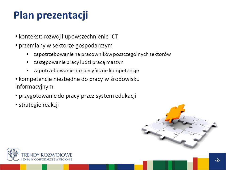 Plan prezentacji kontekst: rozwój i upowszechnienie ICT
