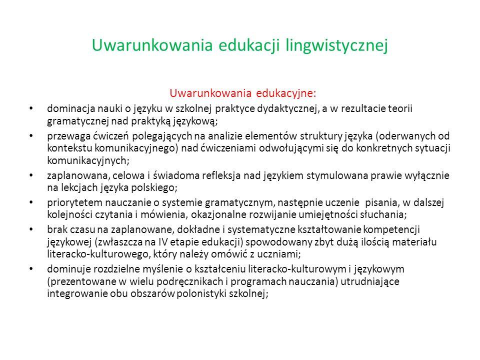 Uwarunkowania edukacji lingwistycznej