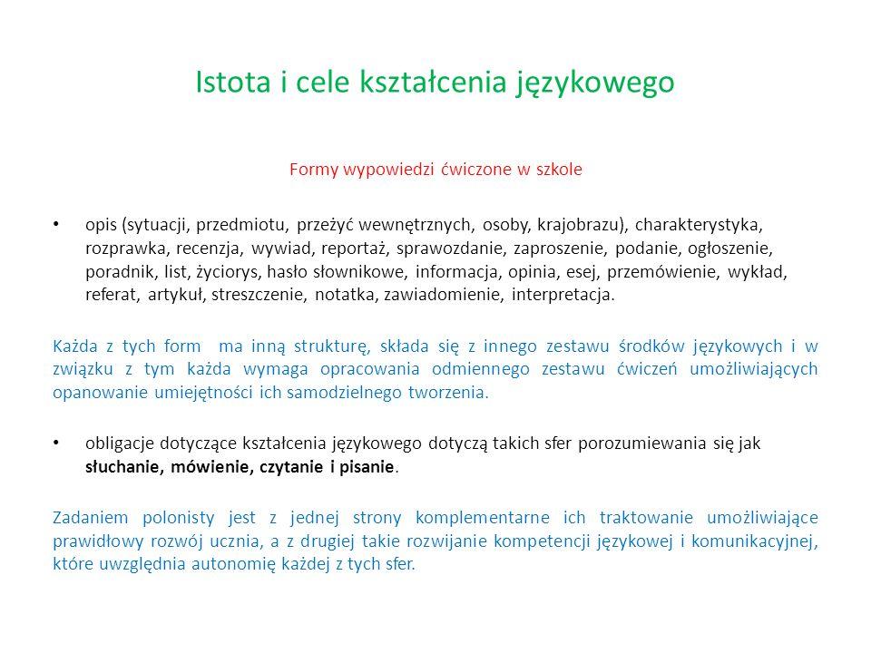 Istota i cele kształcenia językowego