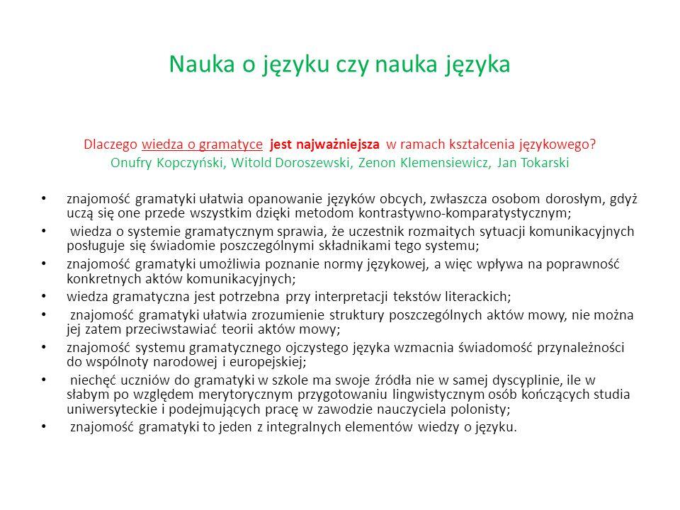 Nauka o języku czy nauka języka